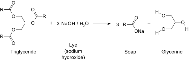 Chemical equation of saponification